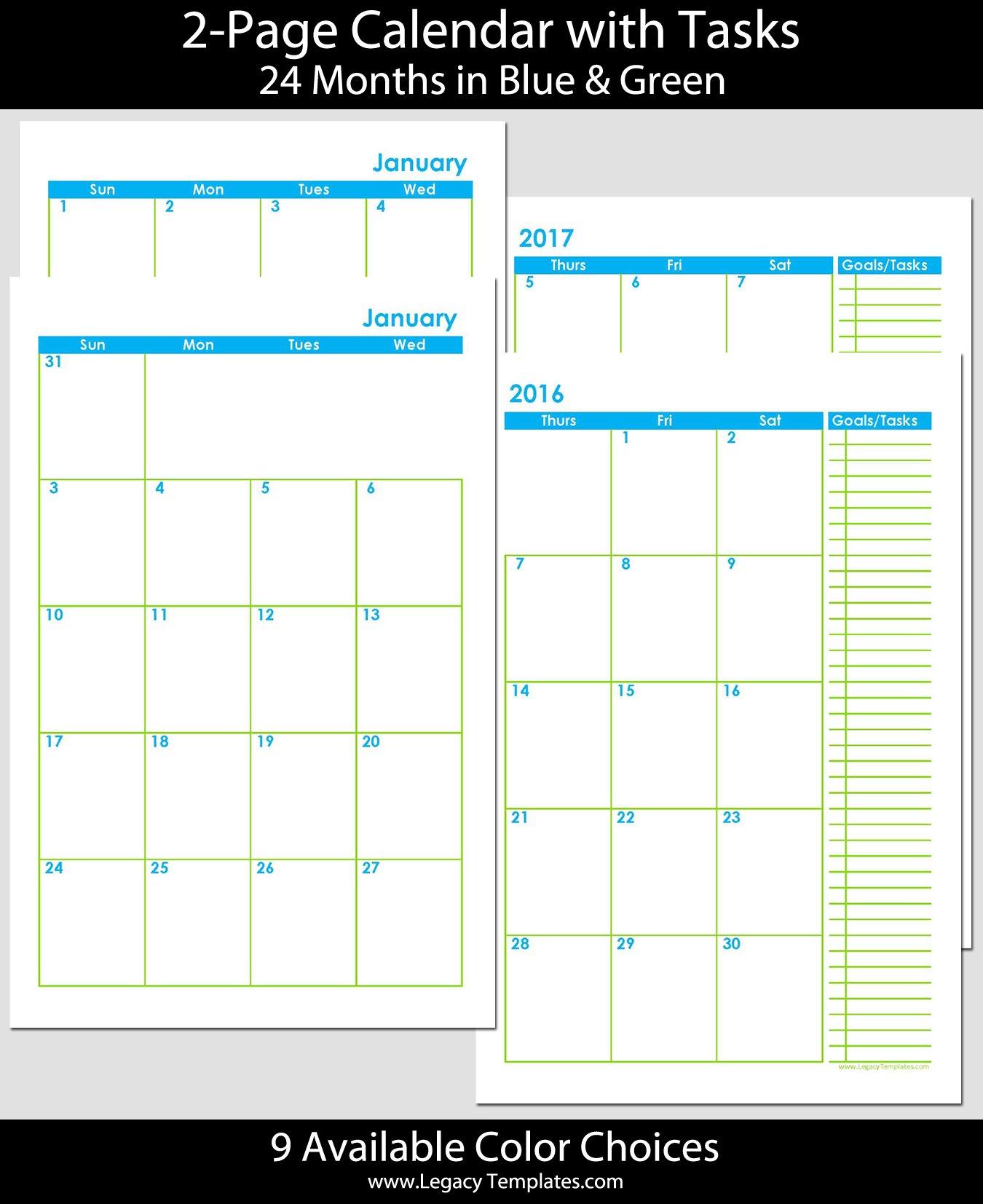 2016 & 2017 – 24 Months 2 Page Calendar – Half Size Printable Full Size 8 X 11 Calander