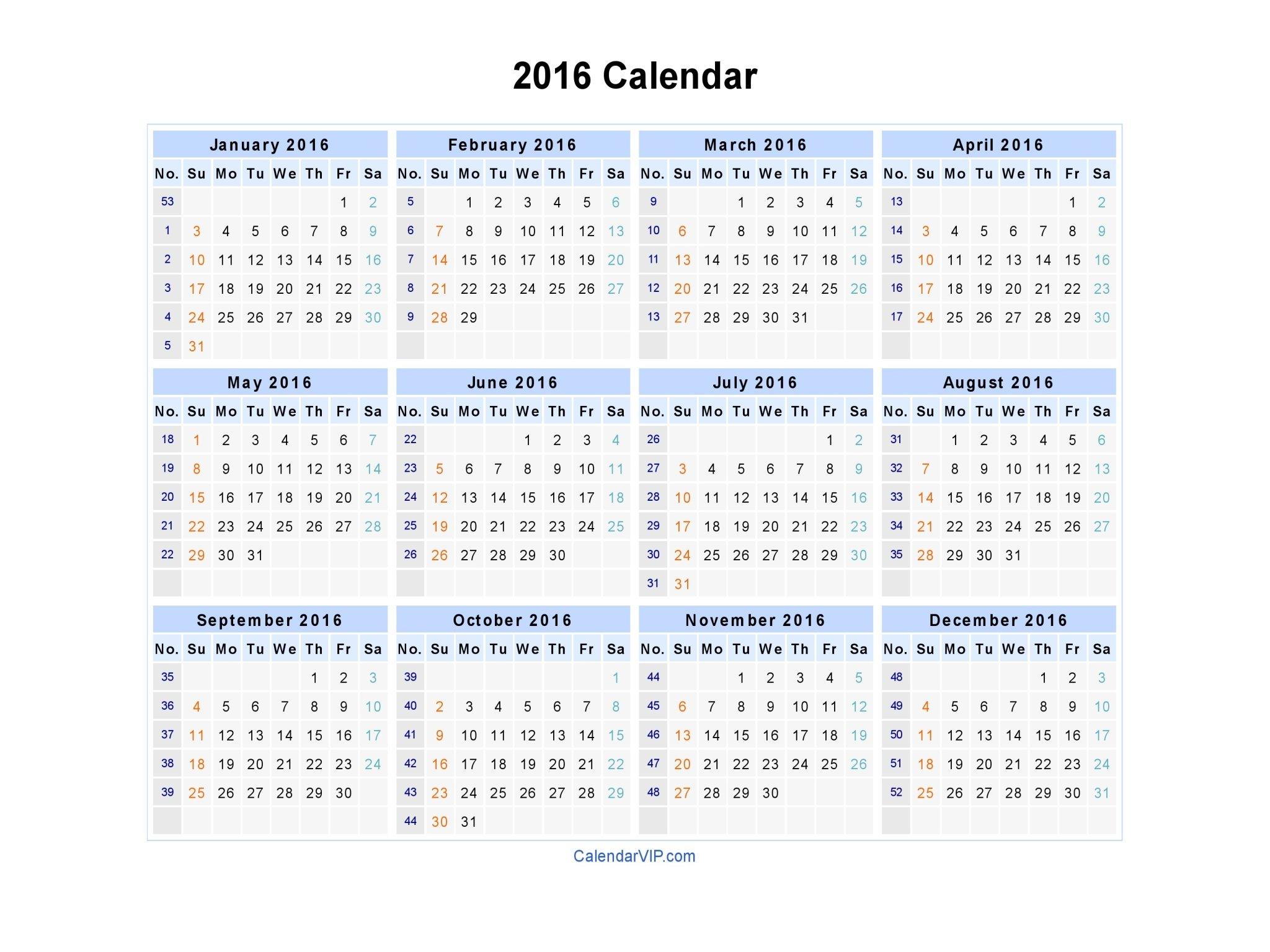 2016 Calendar – Blank Printable Calendar Template In Pdf Blank 30 Day Calendar Starting May 24
