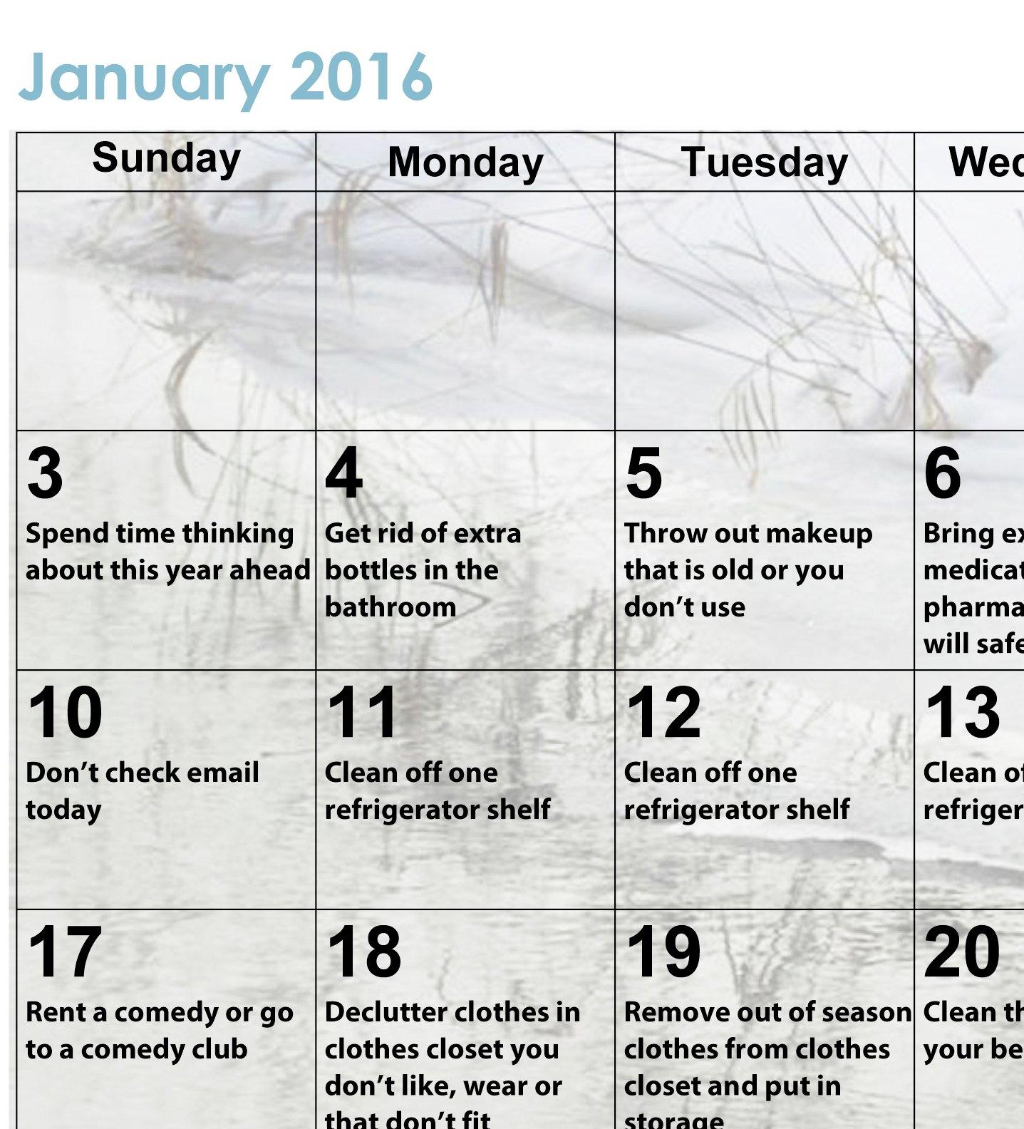 2016 Declutter Calendar | Calendar Template 2020 Where Is Wordperfect Calendar