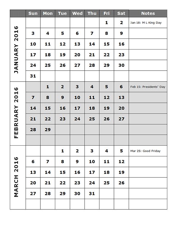 2016 Three Month 3 Month Free Calendar