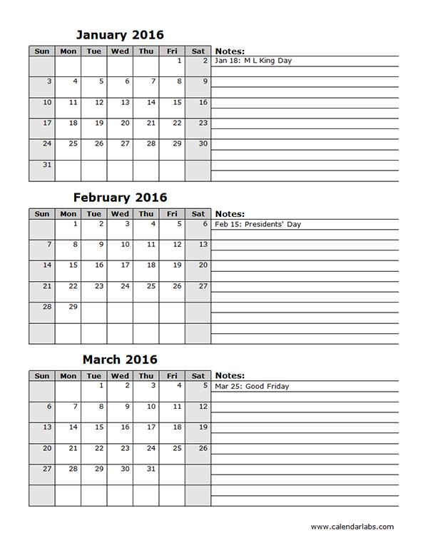 2016 Three Month Calendar Template 12L – Free Printable 3 Month Calendar Template Printable