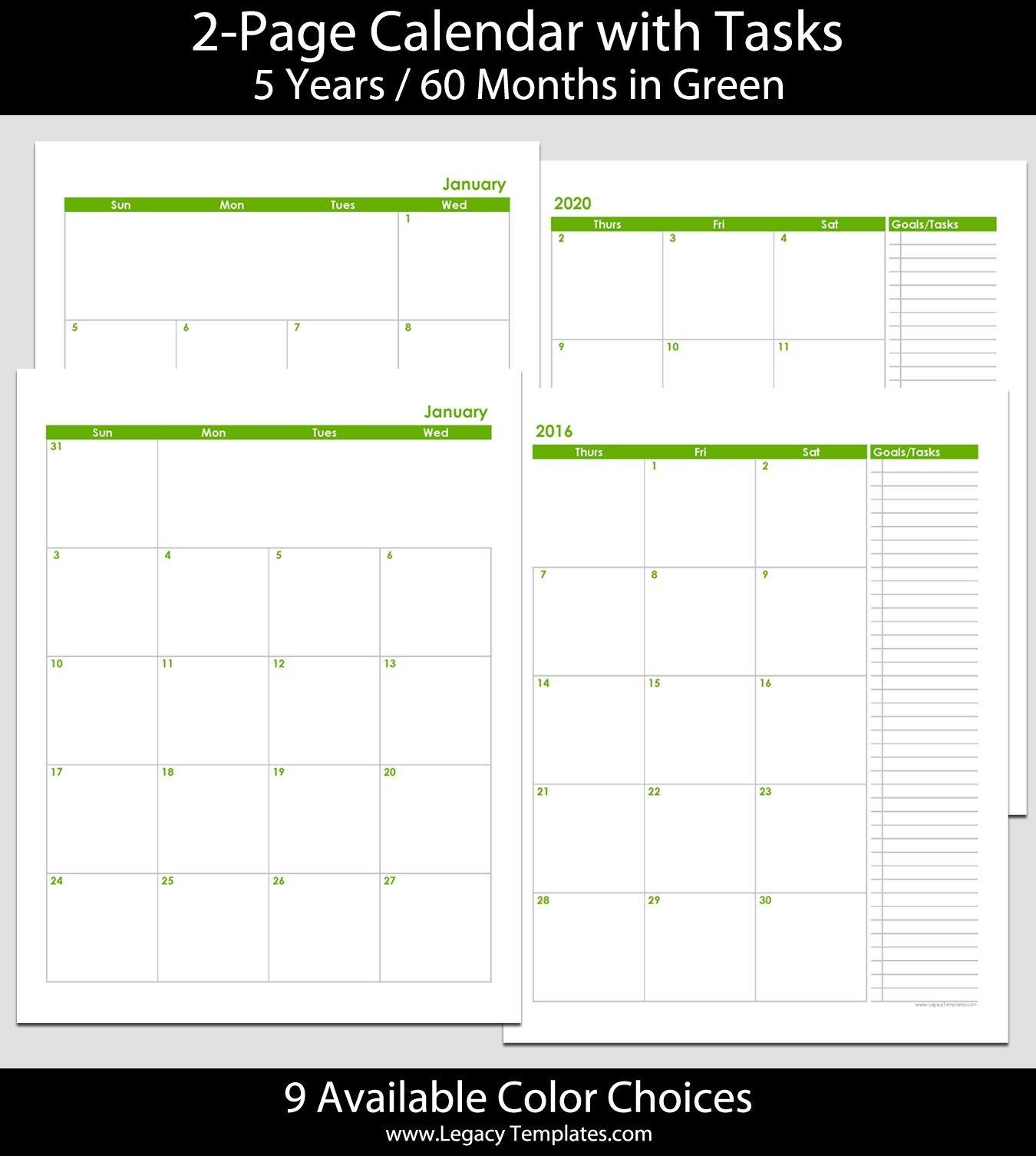 2016 Thru 2020 60 Month 2 Page Calendar – 8 1/2″ X 11 8 1/2 X 11 Monthly Calendar Pages