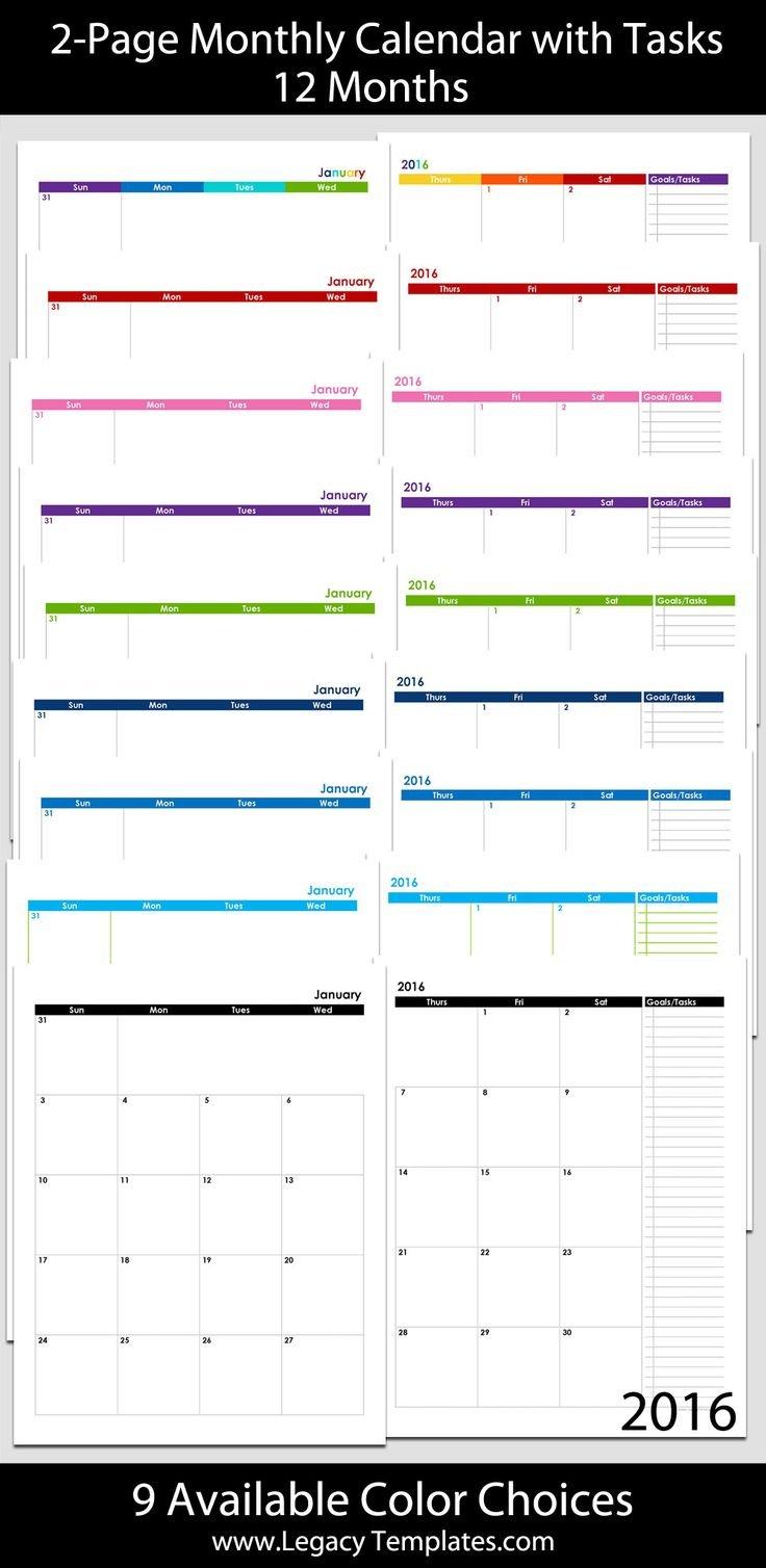 2016 Thru 2020 60 Month 2 Page Calendar – 8 1/2″ X 11 8 1 2 X 11 Printable Calendar