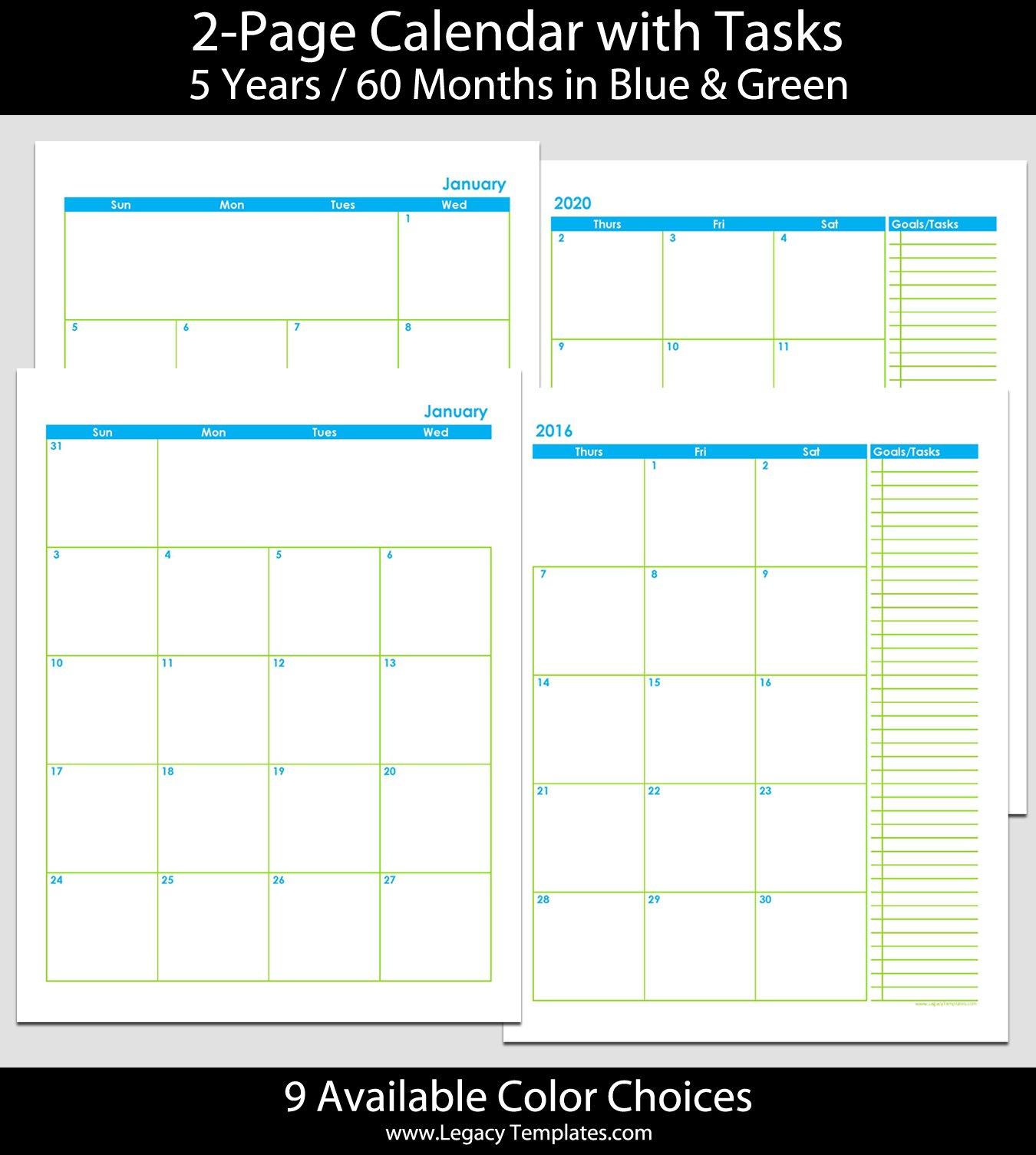 2016 Thru 2020 60 Month 2 Page Calendar – 8 1/2″ X 11 Printable 2020 Calendar 8 1/2 X 11