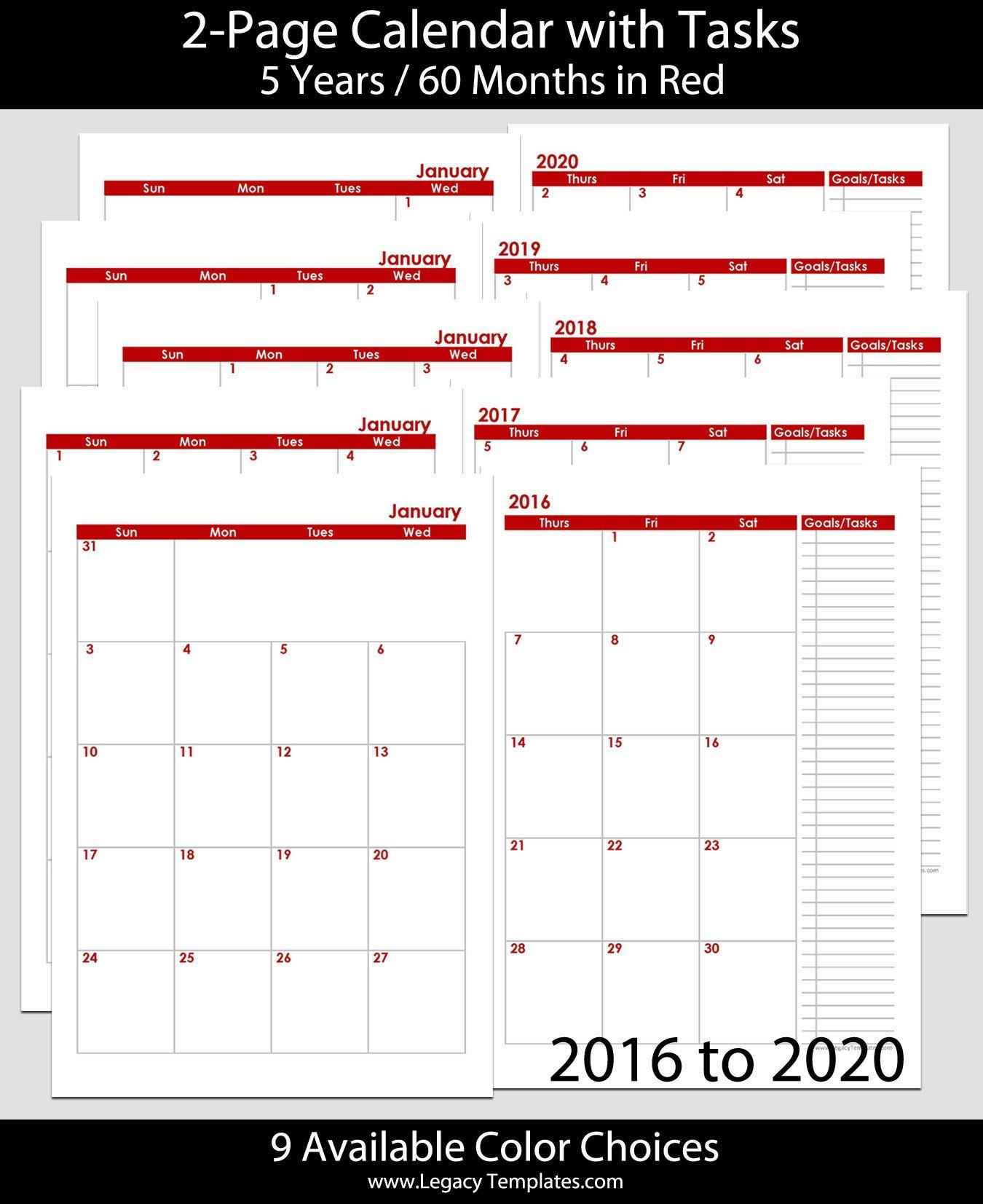 2016 Thru 2020 60 Months 2 Page Calendar – A5 | Legacy 5 X 8 Calendar Template
