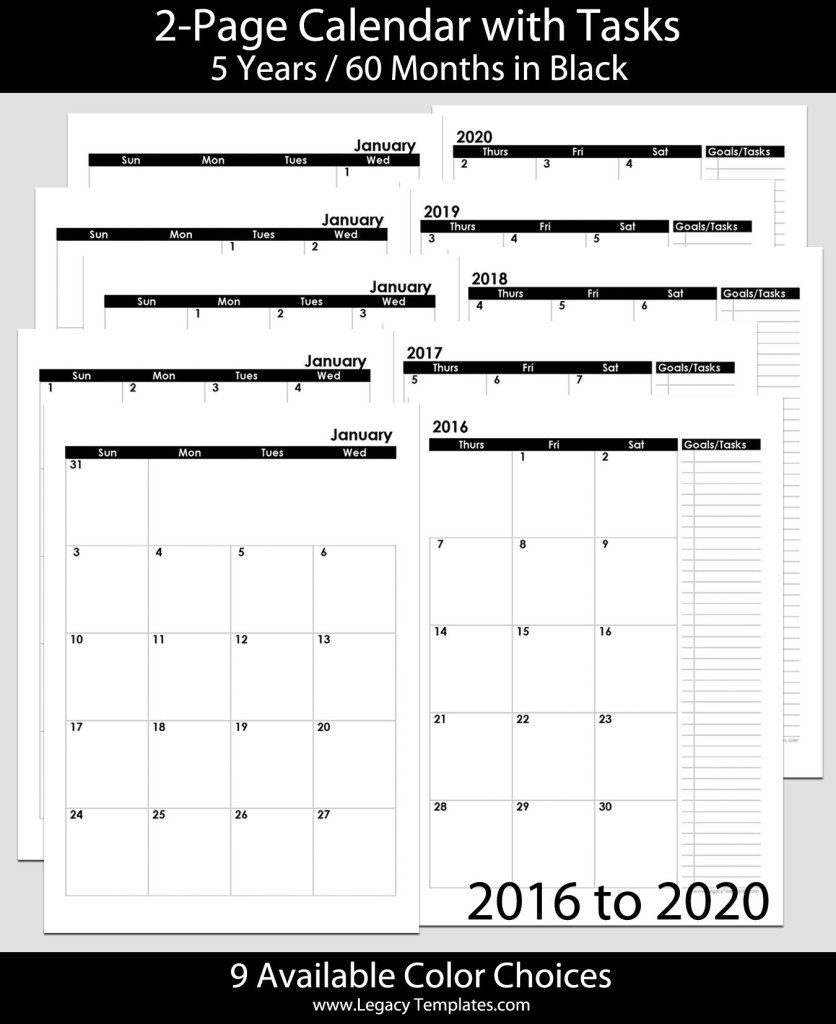 2016 Thru 2020 60 Months 2 Page Calendar – A5 | Legacy 8 1/2 X 11 Monthly Calendar Pages