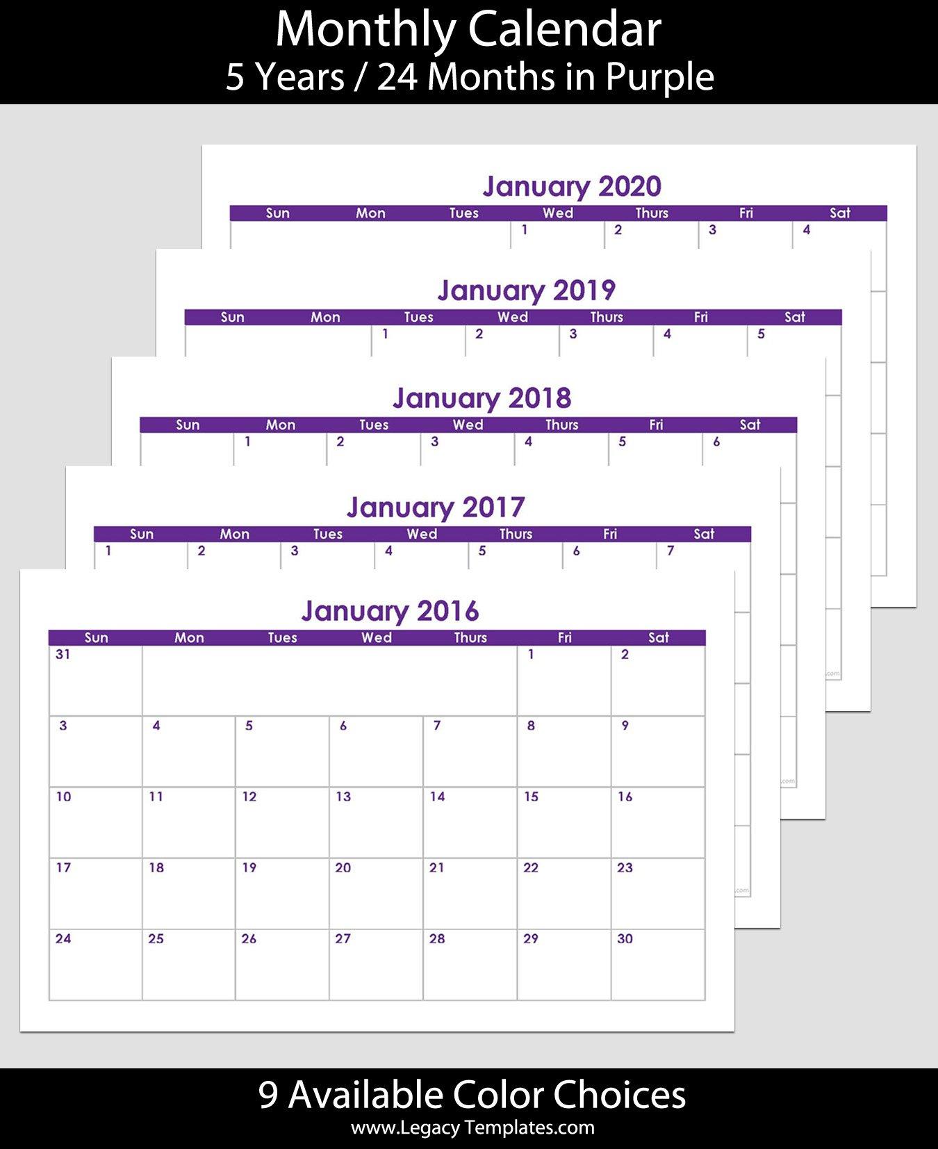 2016 To 2020 60 Month Landscape Calendar – 5.5″ X 8.5 8.5 X 5.5 Calendar
