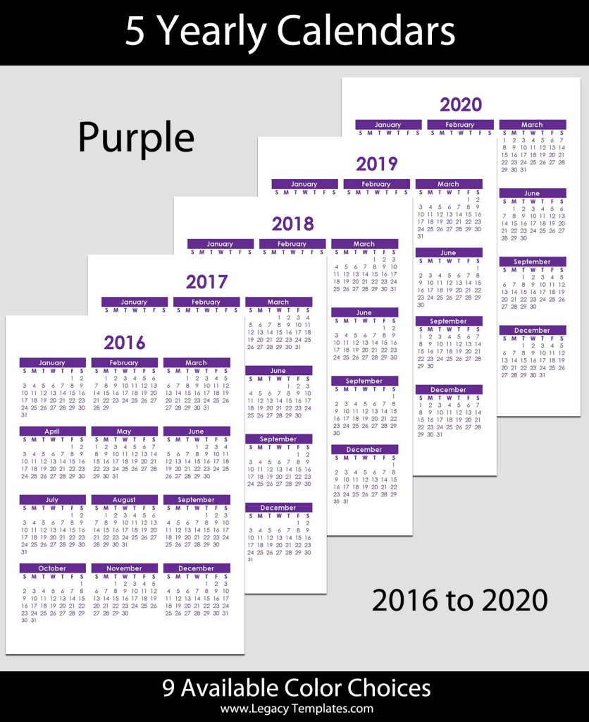 2016 To 2020 Yearly Calendar – A5   Legacy Templates 5 1/2 X 8 1/2 Page Daily Calendar Template Editable