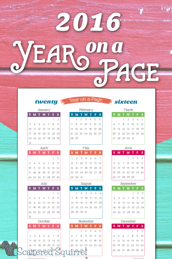 2016 Year On Page Printable Calendars Are Here! Depo Calendar Given Today