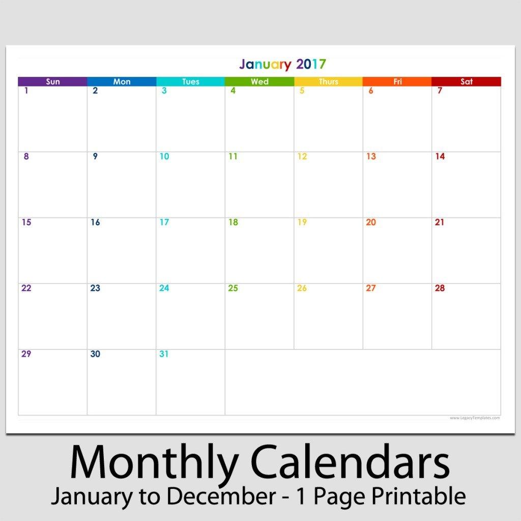 "2017 – 12 Month Landscape Calendar – 8 1/2"" X 11"" | Legacy 8 1 2 X 11 Printable Calendar"