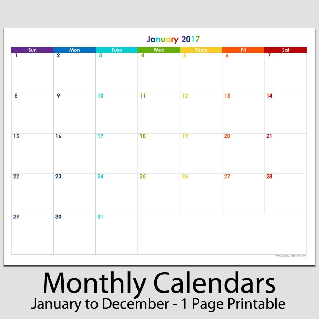 """2017 – 12 Month Landscape Calendar – 8 1/2"""" X 11"""" 
