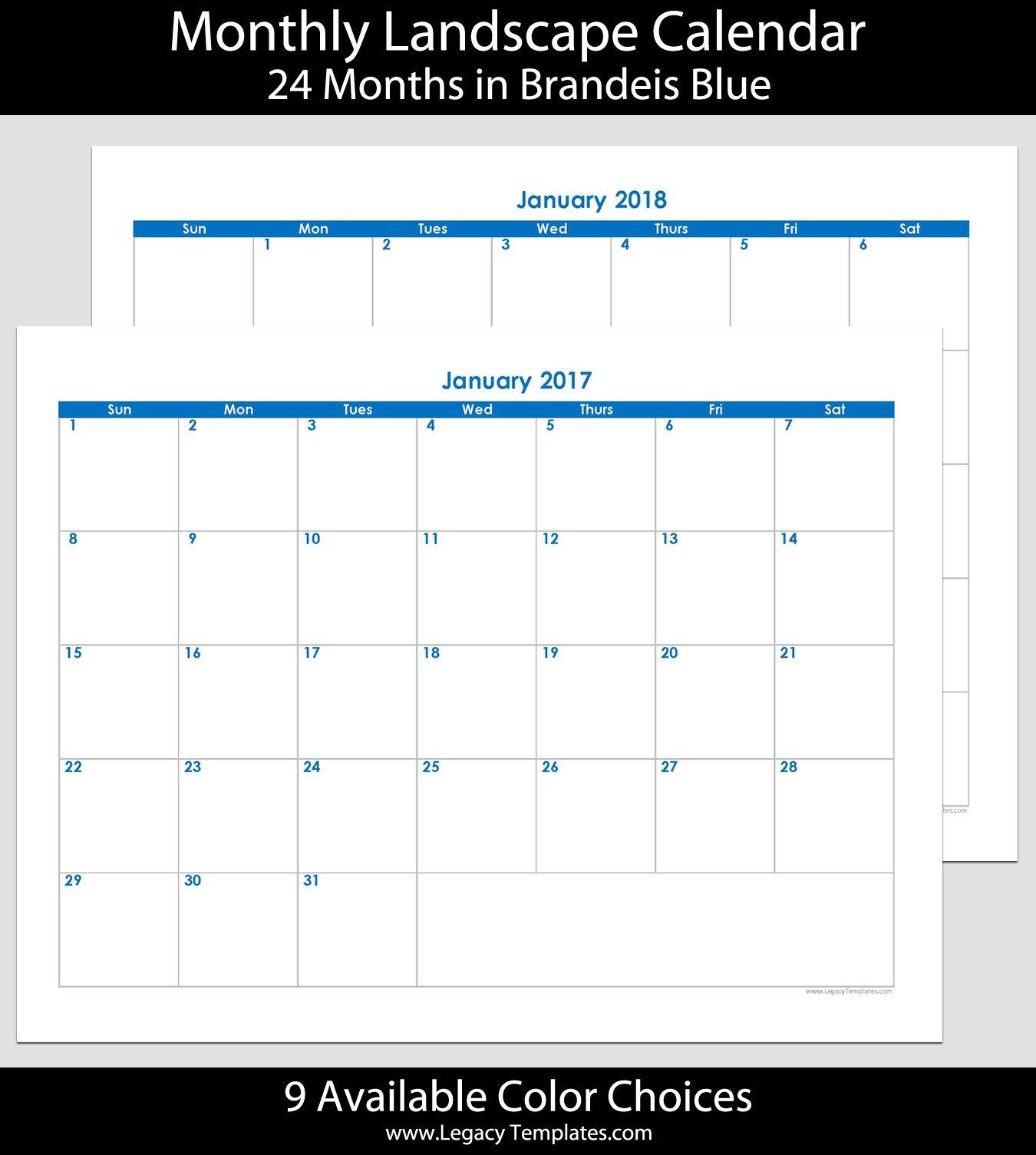 2017 & 2018 24 Month Landscape Calendar – 8.5 X 11 Blank 30 Day Calendar Starting May 24