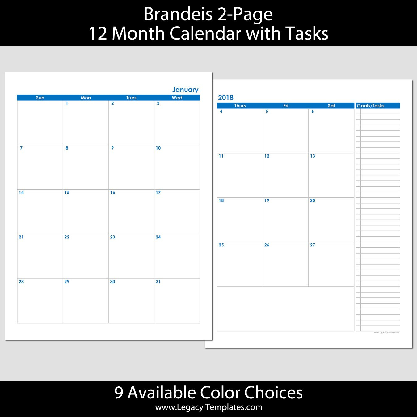 2018 12 Month 2 Page Calendar – 8.5 X 11 | Legacy Templates 2 Page Printable Monthly Calendar
