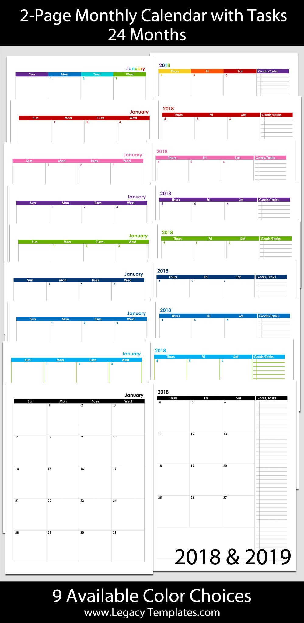 2018 & 2019 24 Month 2 Page Calendar – 8 1/2″ X 11 8 1/2 By 11 Inch Monthly Calendar