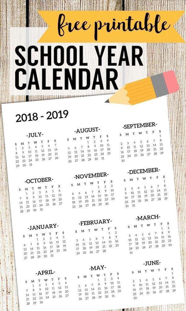 2018 2019 School Calendar Printable Free Template Free School Calendars For Teachers