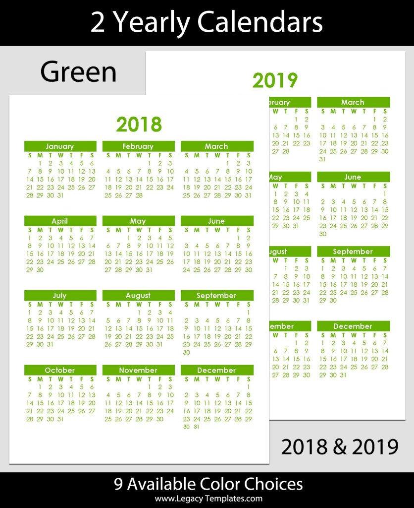 2018 & 2019 Yearly Calendar – A5 | Legacy Templates Printable 2020 Calendar 8 1/2 X 11