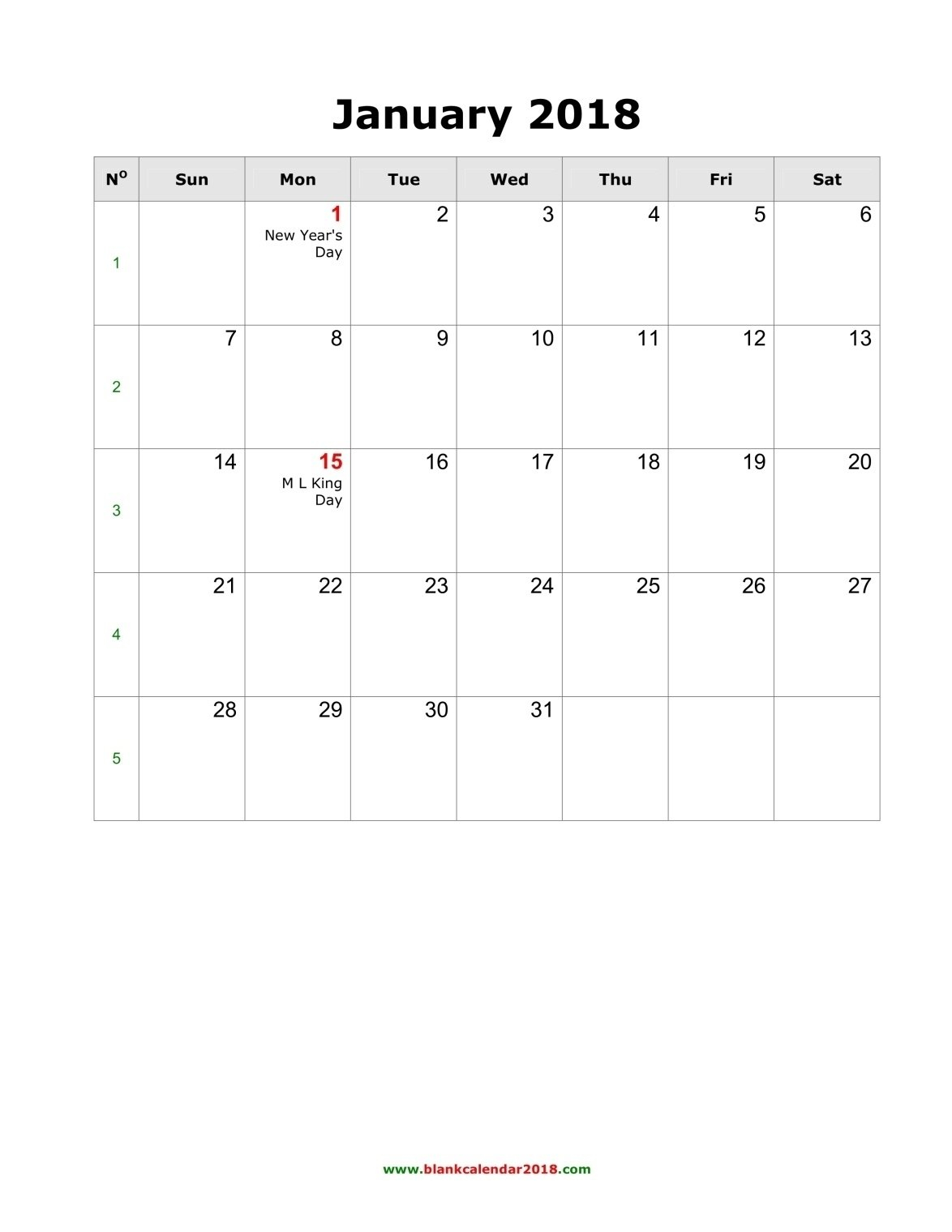 2018 Blank Printable Calendars – Template Calendar Design Calendars To Fill In And Print