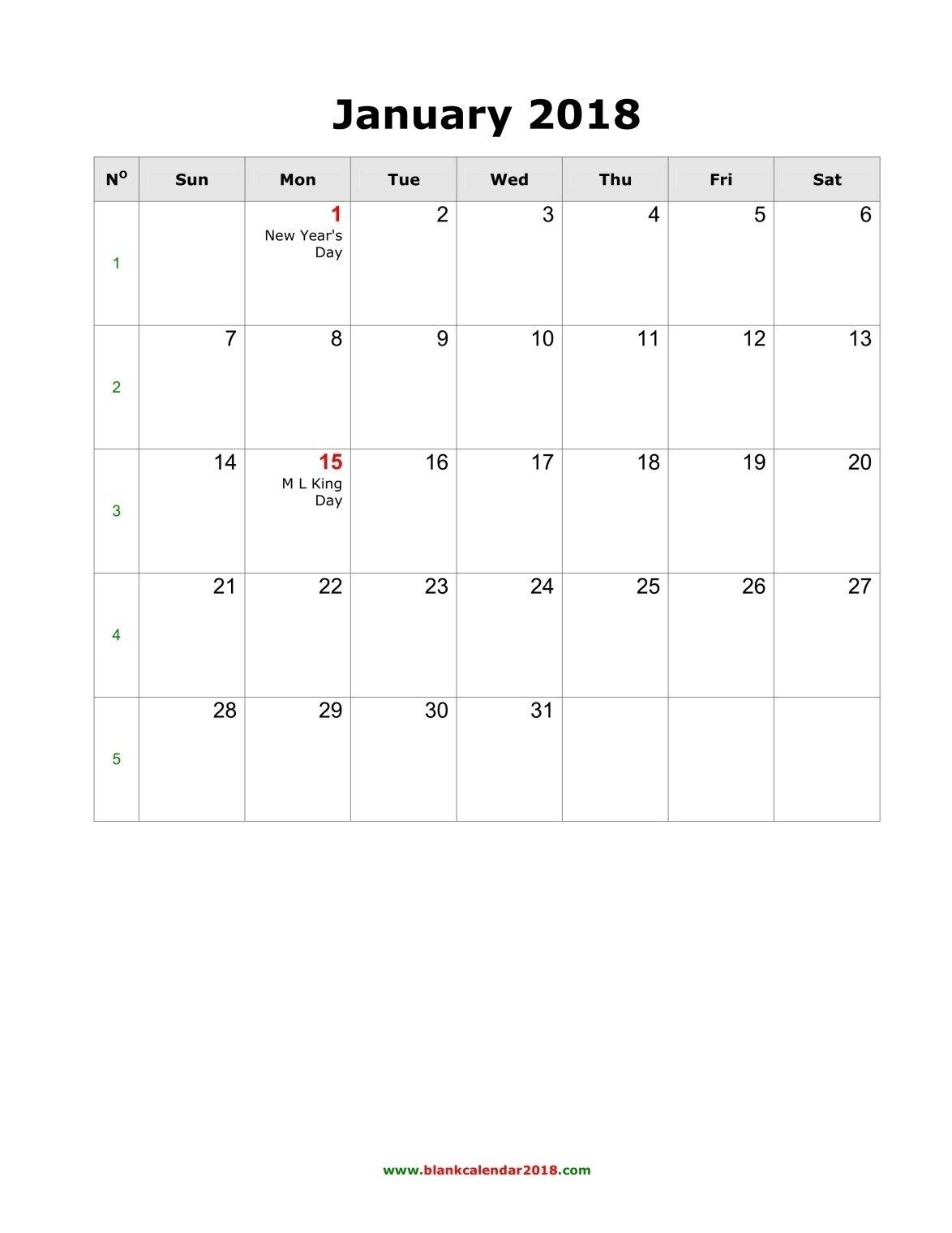 2018 Blank Printable Calendars – Template Calendar Design Printale Calendar Fill In