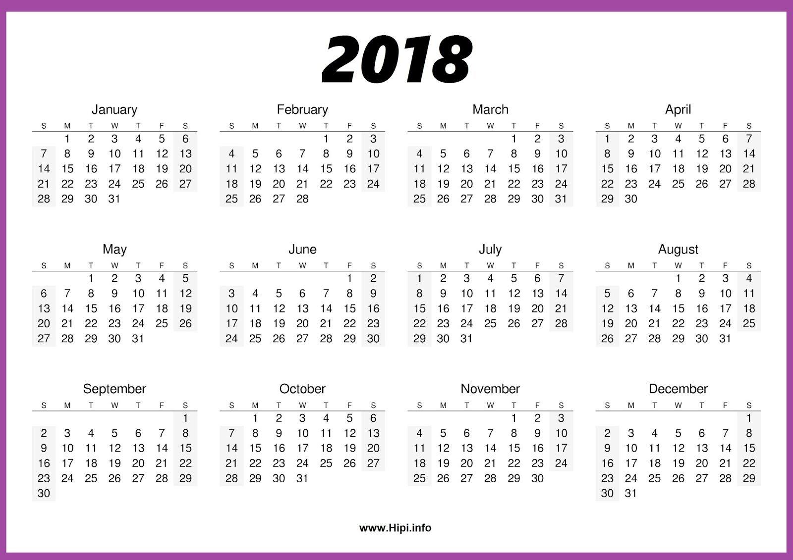 2018 Calendar One Page – Calendar Printable Week Free Blank Calendar Page