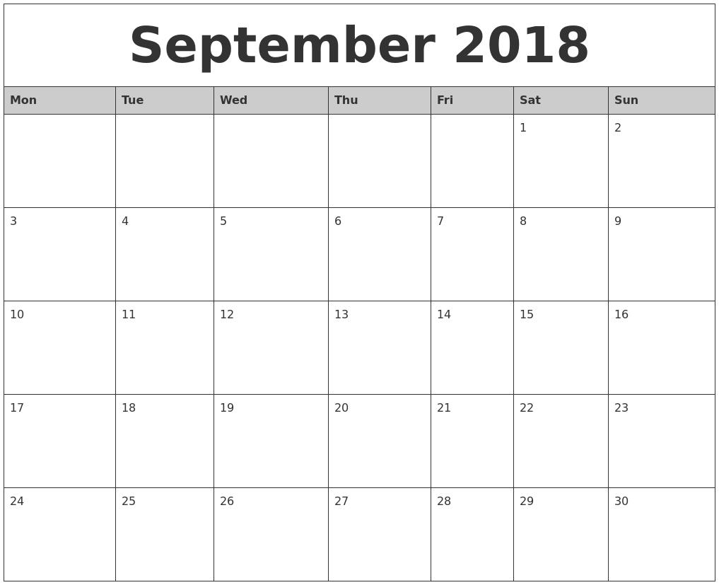 2018 Monthly Calendar Monday To Sunday – Template Calendar How To Make A Calendar In Word Monday Through Sunday