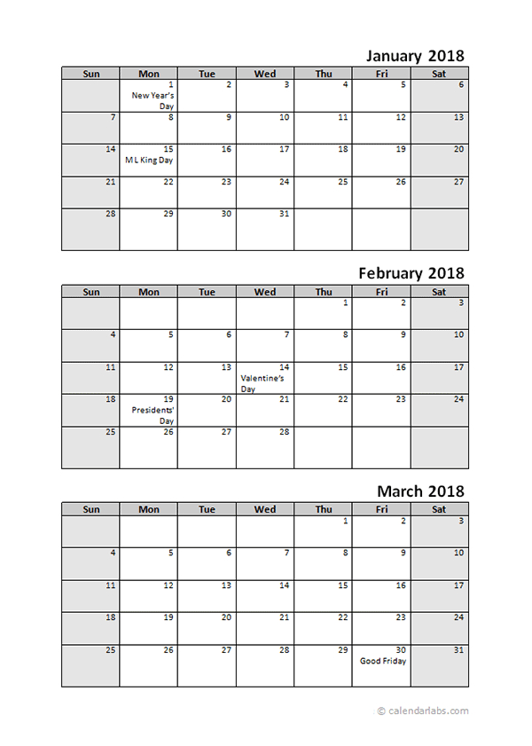 2018 Quarterly Calendar With Holidays – Free Printable Applications To Print 3Month Calendars