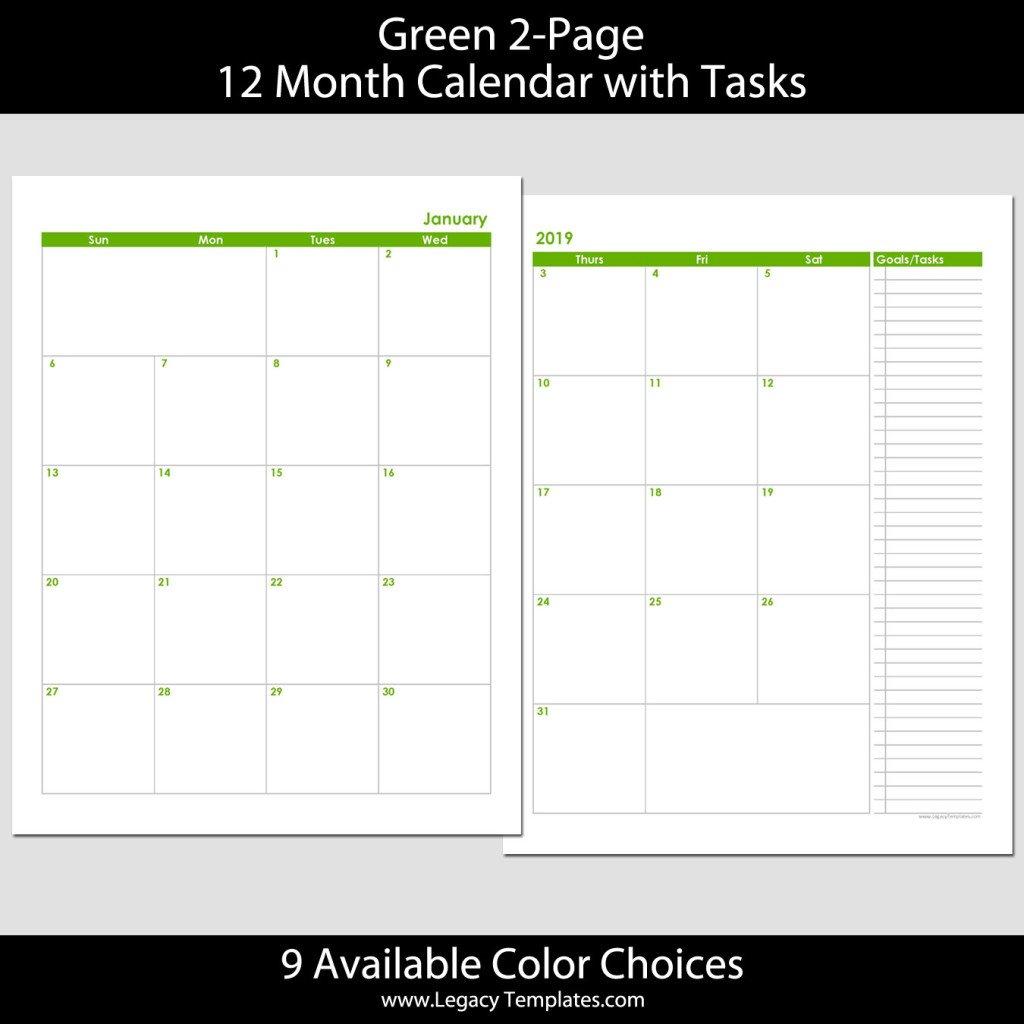 2019 12 Month 2 Page Calendar – 8.5 X 11   Legacy Templates 8.5 X 11 Printer Friendly Calendar