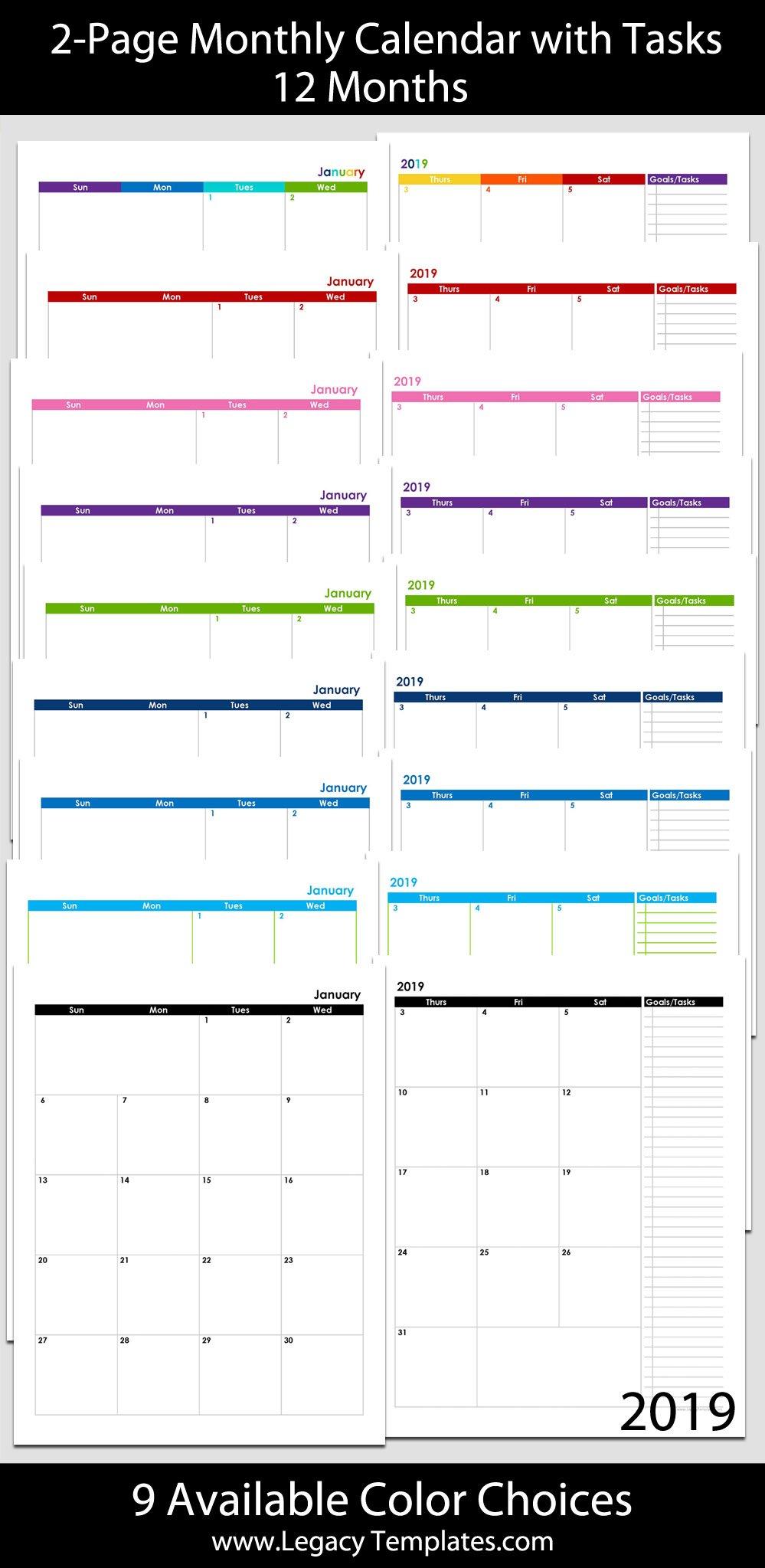 2019 12-Month 2-Page Calendar – 8.5 X 11 | Legacy Templates 8.5 X 11 Printer Friendly Calendar