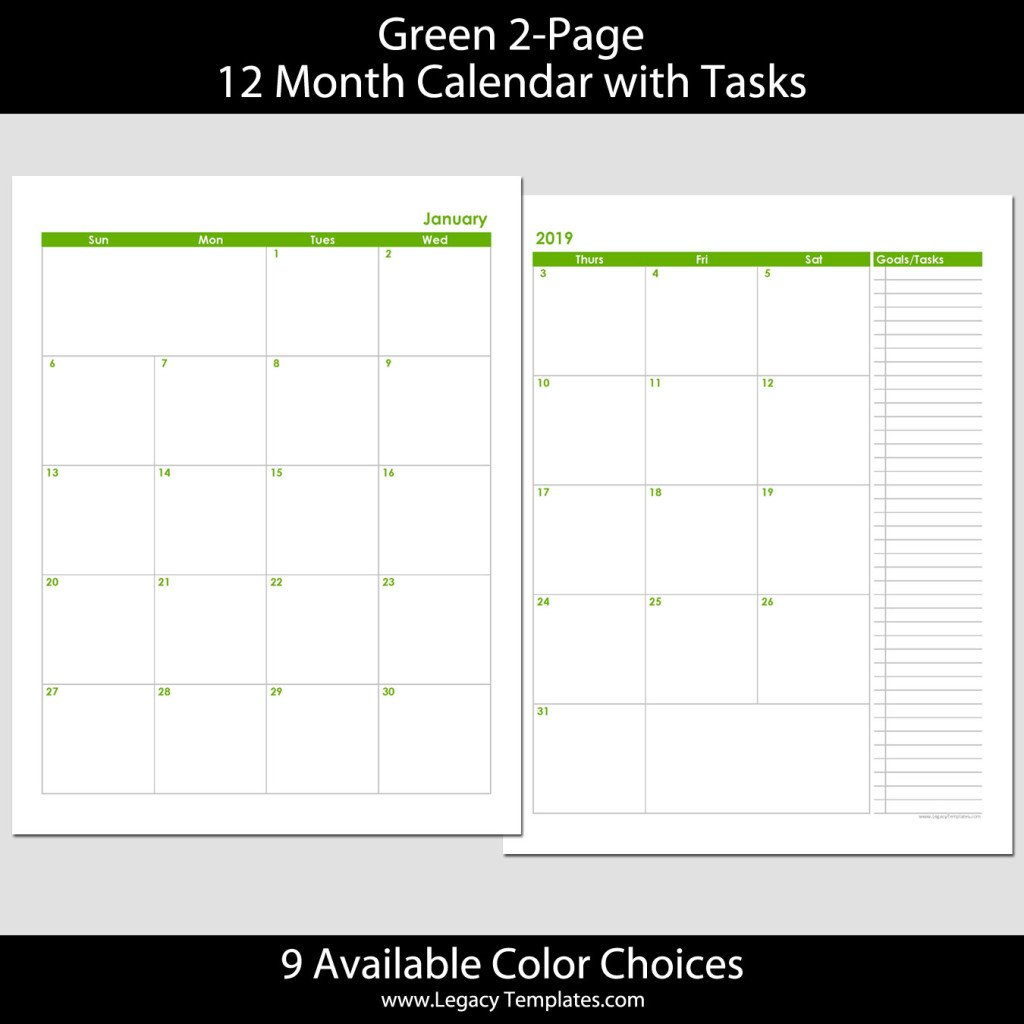 2019 12 Month 2 Page Calendar – 8.5 X 11 | Legacy Templates 8 And 1/2 By 11 Monthly Printabe Calendar