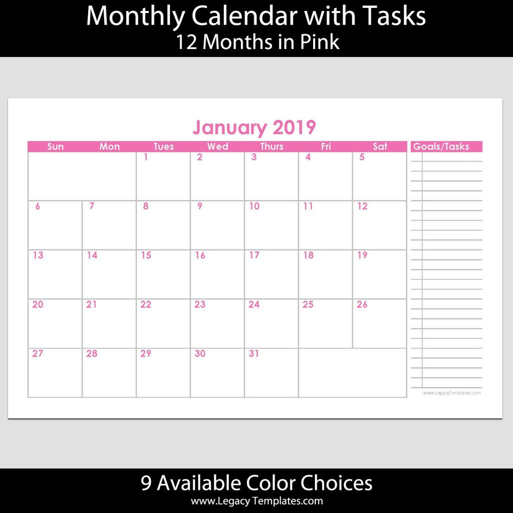 2019 12 Month Landscape Calendar With Tasks – 5.5 X 8.5 Printabel Planner Pages For 5.5 X 8.5 Planner