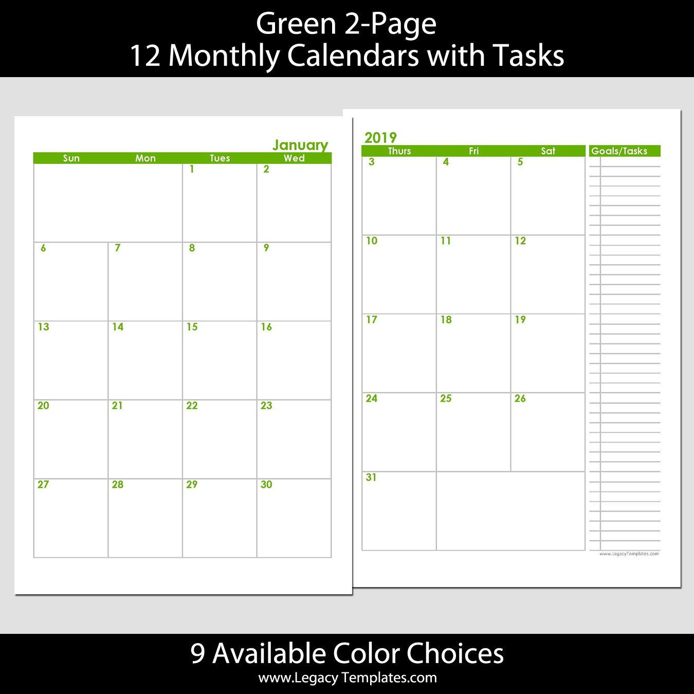 2019 12 Months 2 Page Calendar – A5   Legacy Templates Weekly Planner Template 5.5