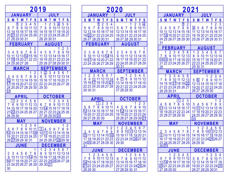 2019 2020 2021 3 Year Calendar 5 Year Calendar Template