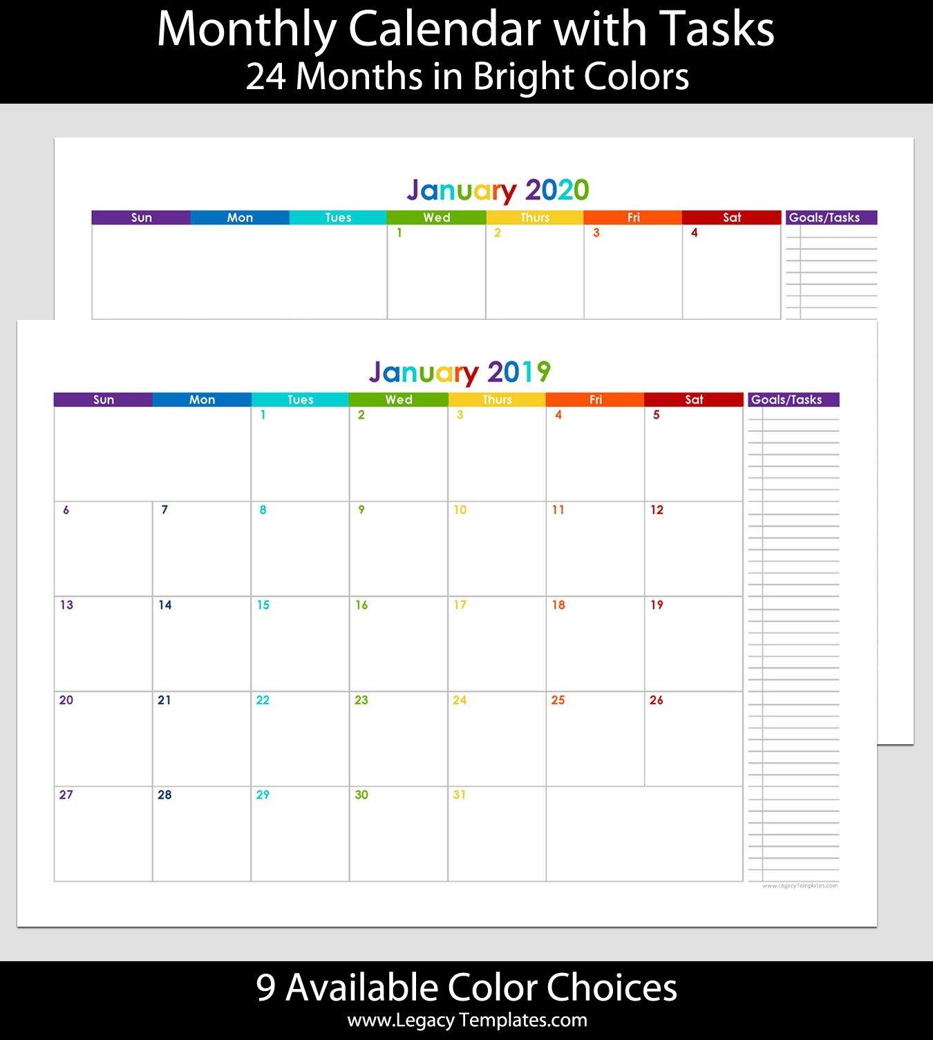 2019 & 2020 24 Month Landscape Calendar With Tasks – A4 2 Page Printable Monthly Calendar