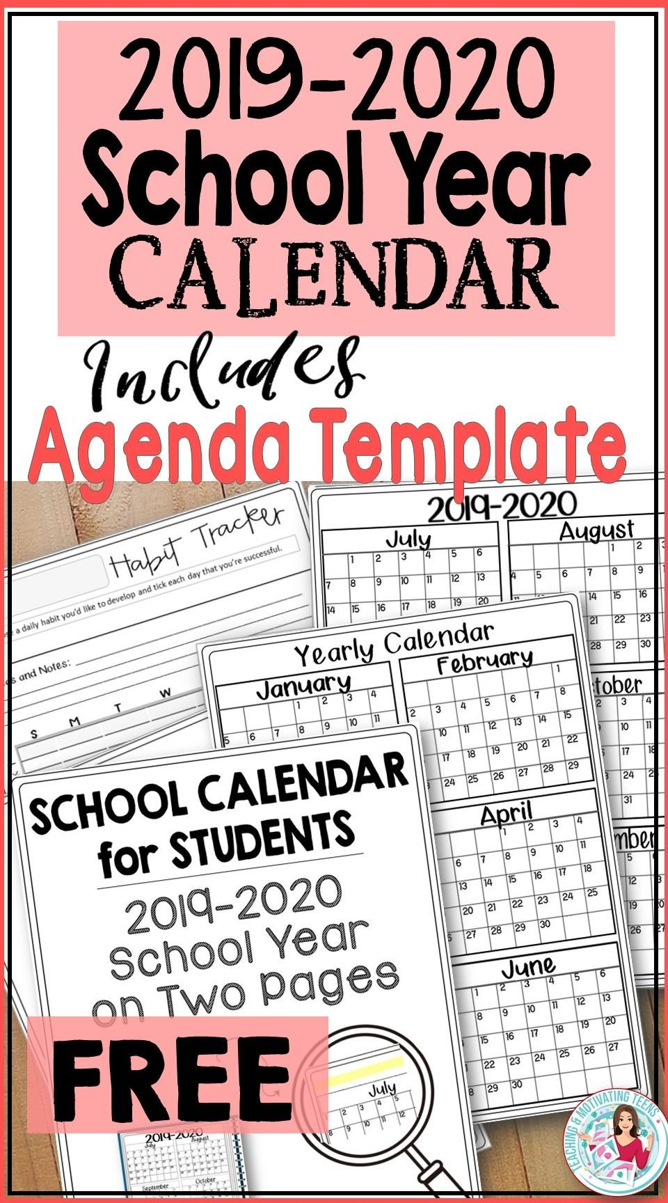2019 2020 Back To School Calendar For Students & Teachers Free School Calendars For Teachers