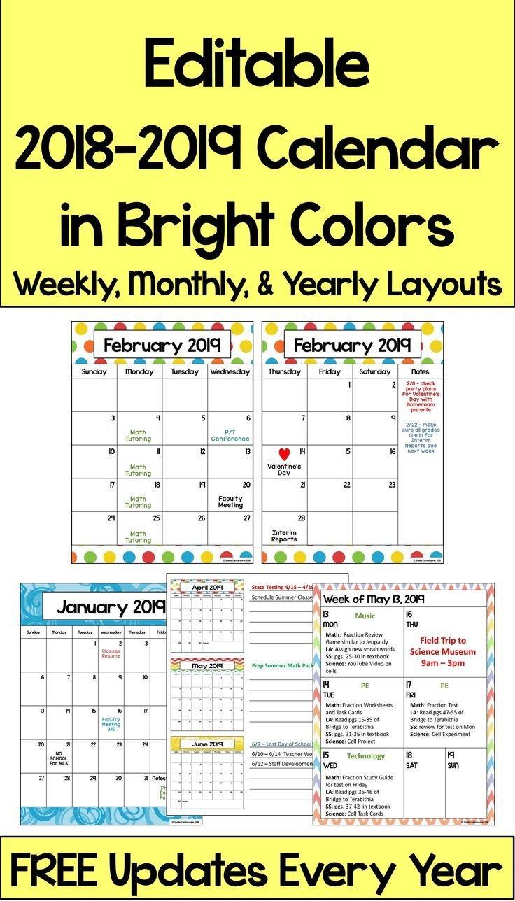 2019 2020 Calendar Printable And Editable With Free Free School Calendars For Teachers