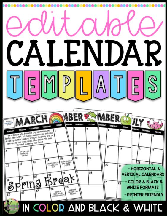 2019 2020 Editable Calendar Templates (Color And Blackline Free Editable Calendars For School