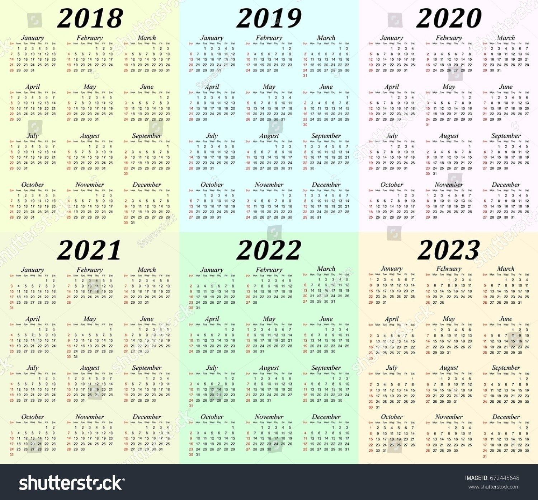 2019 – 2023 Calendar Printable – Calendar Inspiration Design 5 Year Calendar Template
