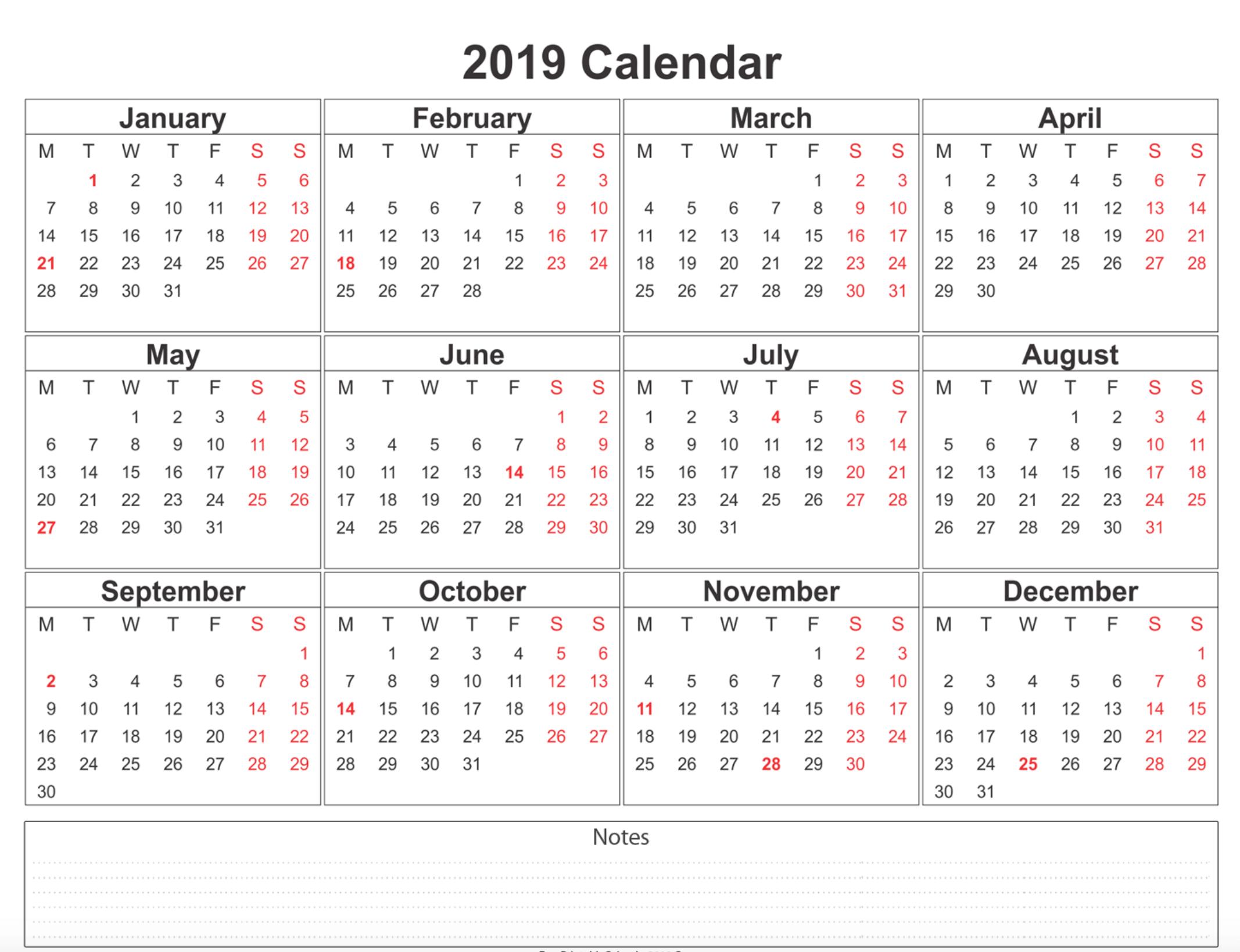 2019 Calendar – Amazonaws 3 Month Calendar Template Printable