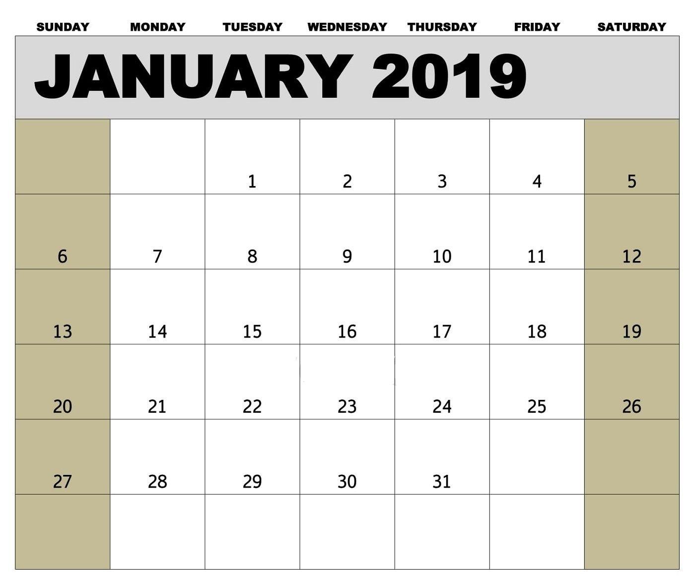 2019 Calendar January Canada Printable Blank Archives Holiday Time Off Calendar Excel