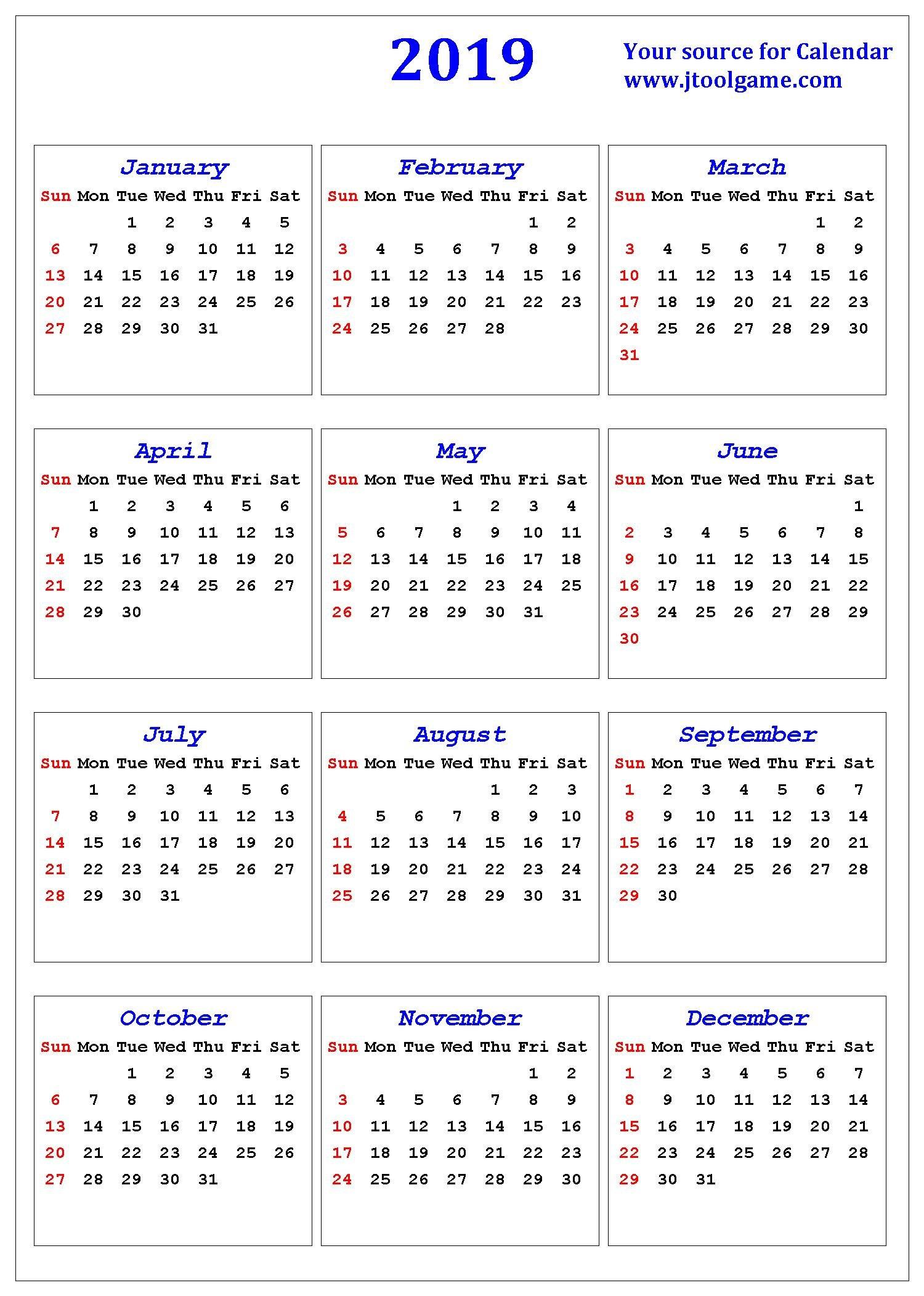 2019 Calendar – Printable Calendar. 2019 Calendar In Small Printable Blank Calendar