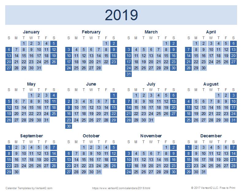 2019 Calendar Templates And Images Five Year Calendar Image