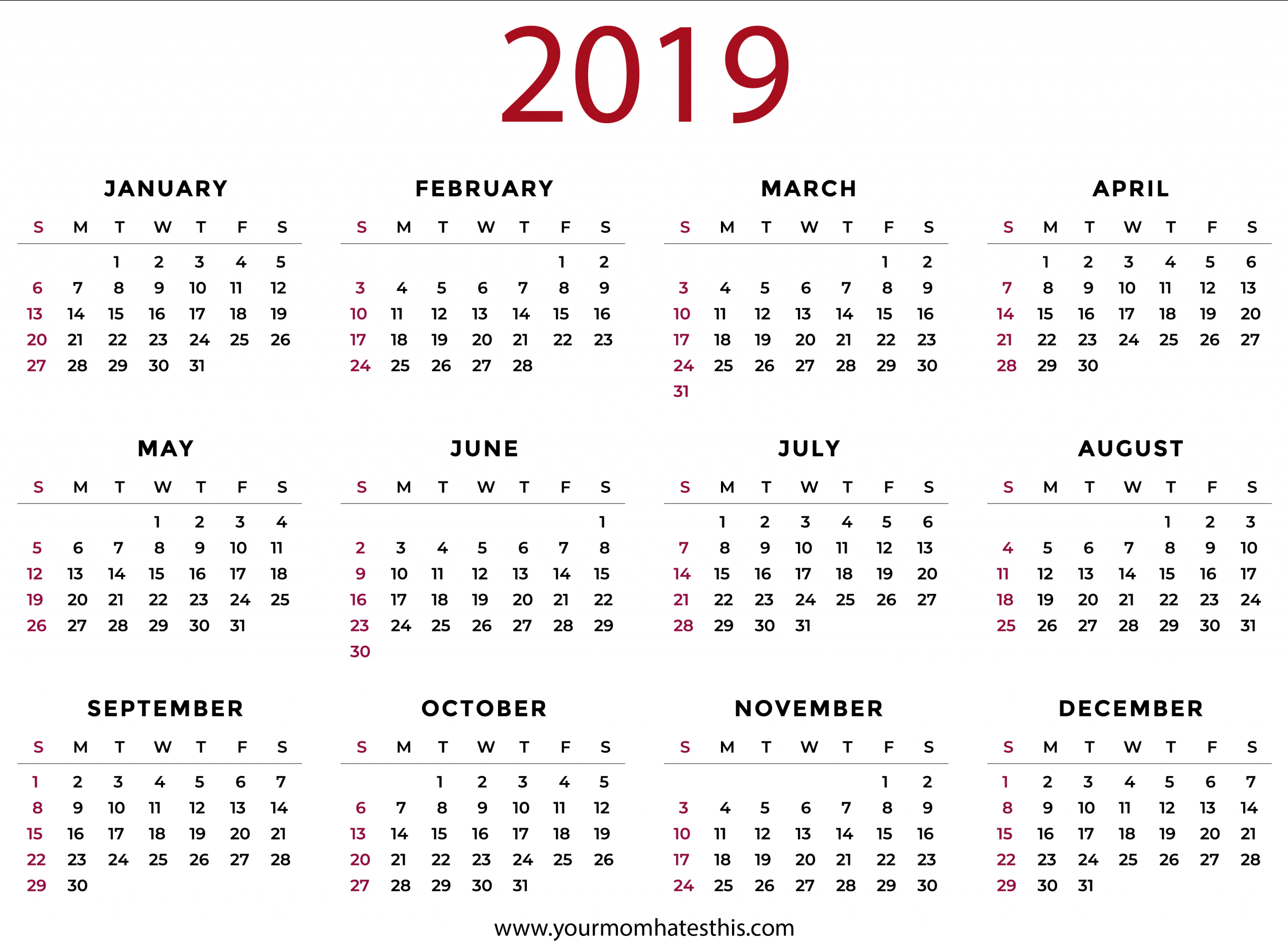 2019 Calendars Download Pdf Templates Image Of Month Calendar