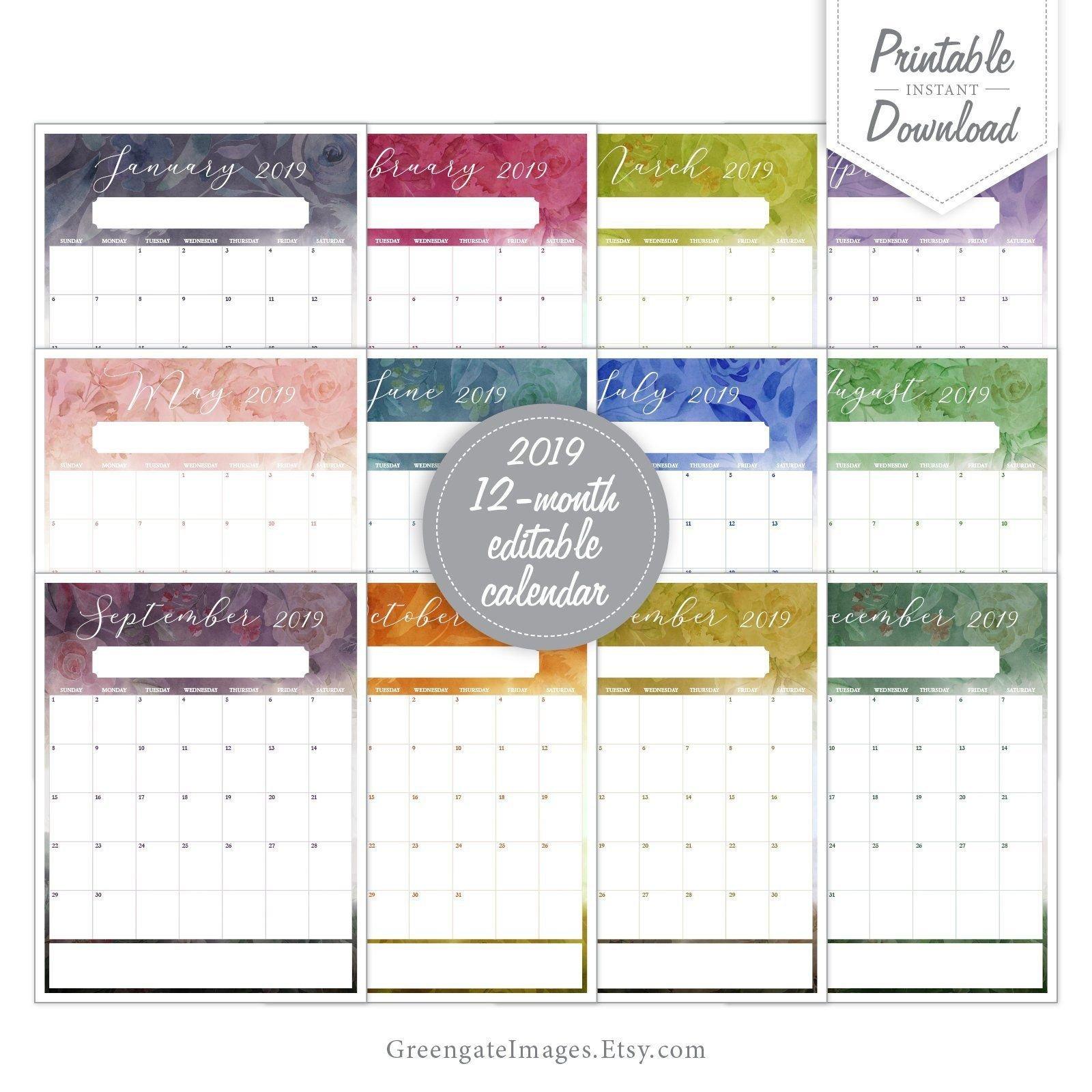 2019 Editable Calendar – Fillable Calendar, 12 Month 12 Month Editable Calendar