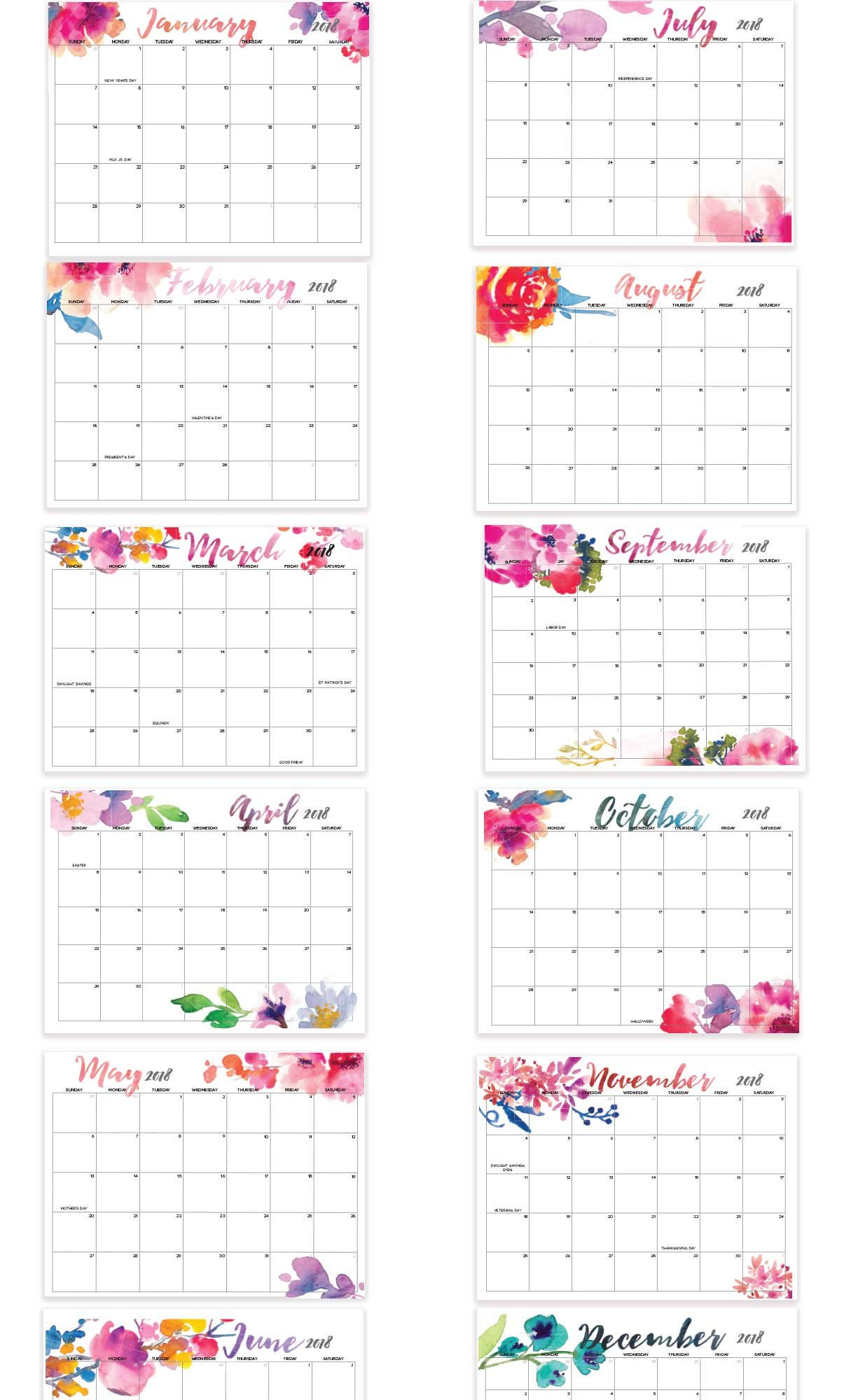 2019 Printable Calendar Editable 12 Month Letter Size   Etsy 12 Month Editable Calendar