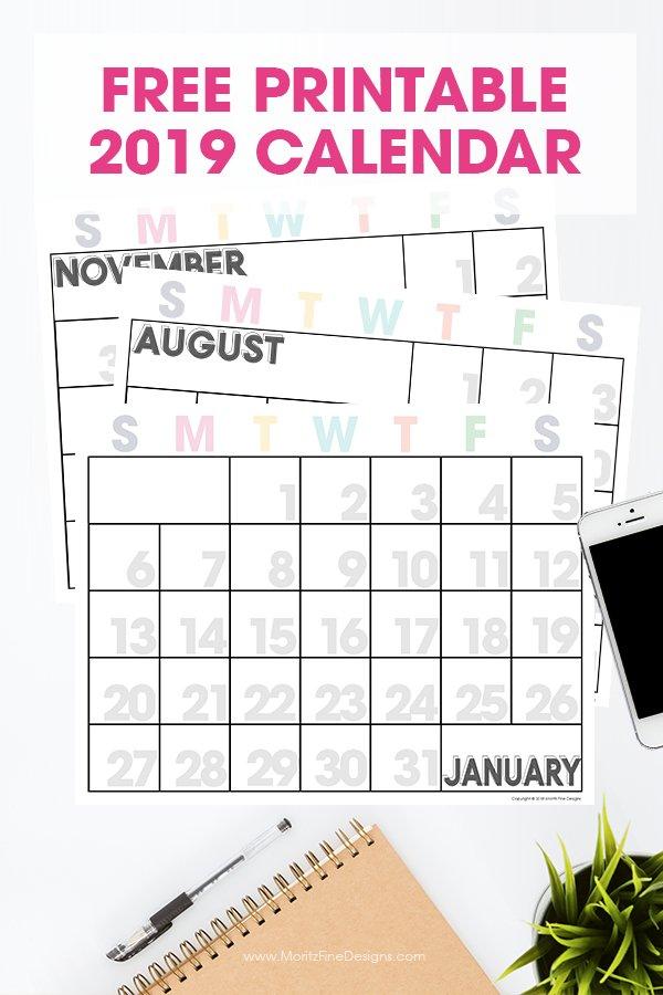 2019 Printable Calendar   Free Printable Monthly Calendar Calendars You Can Modify