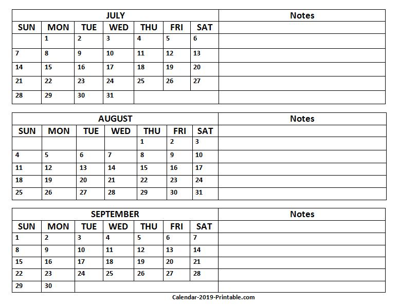 2019 Quarterly Calendar Printable   Quarterly Calendar The No Frills Calendar