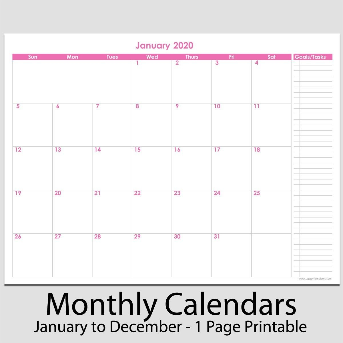 """2020 12 Month Calendar With Tasks 8 1 2"""" X 11 2020 12 8 1/2 X 11 Monthly Calendar Pages"""