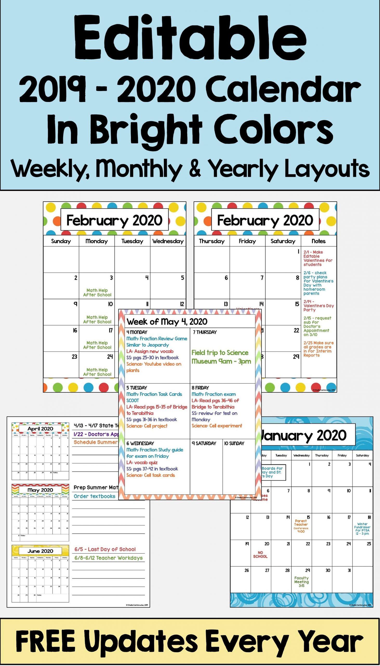 2020-2021 Calendar Printable And Editable With Free Free Editable Calendars For School