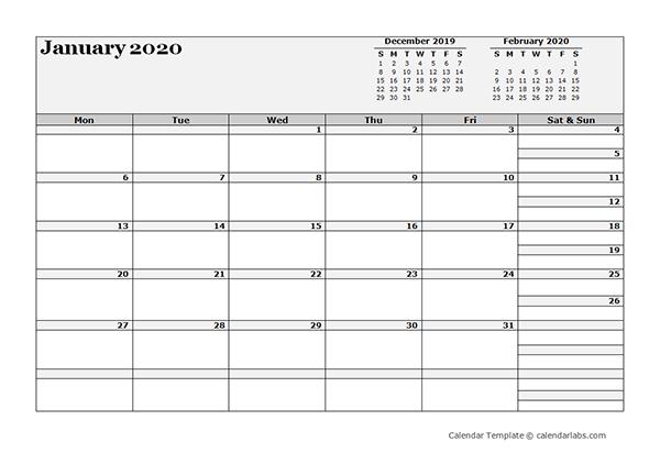 2020 Blank Three Month Calendar – Free Printable Templates 3 Month Calendar Printable Free