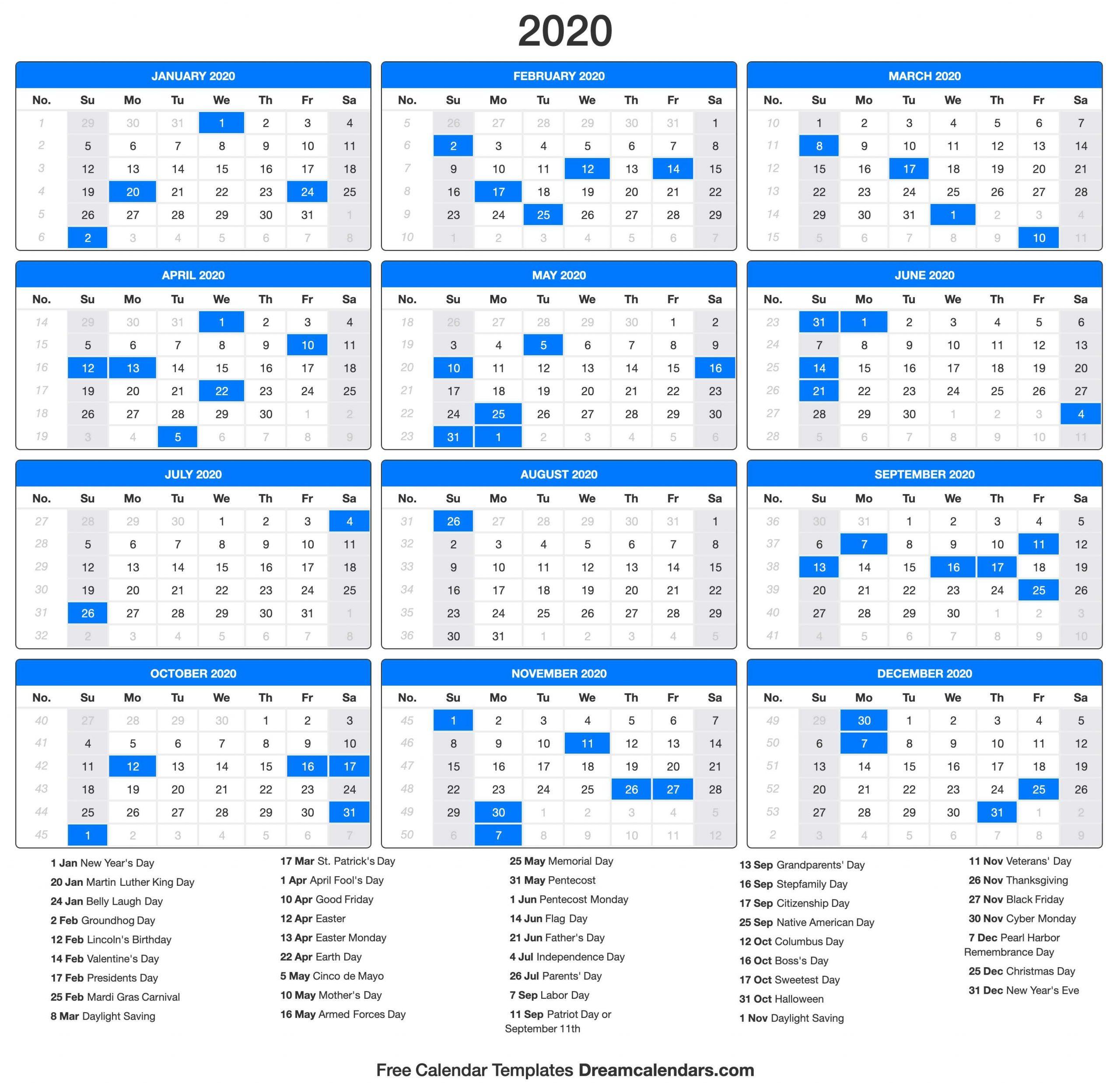 2020 Calendar Calendar Numbered Days 365