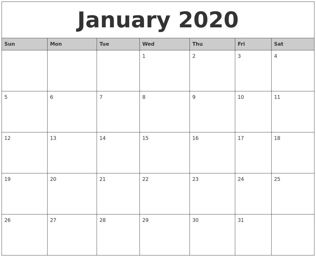 2020 Calendar Monday Thru Friday Monthly   Calendar Free Printable Monthly Calendar Monday Thru Friday